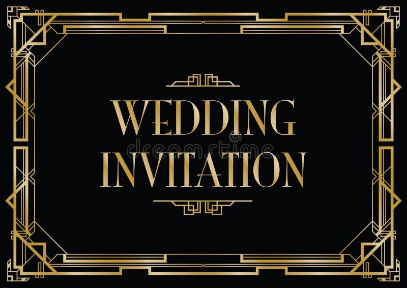 Cartão do convite do estilo do art deco ilustração do vetor