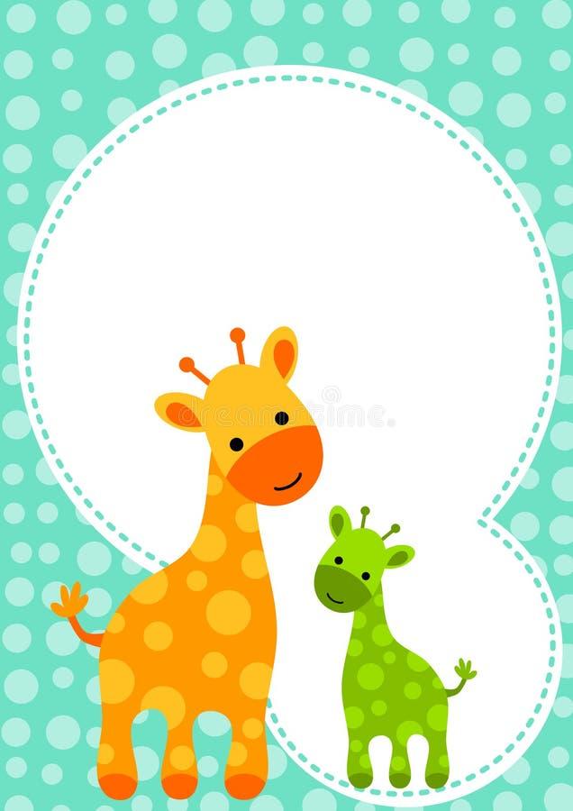 Cartão do convite do girafa da festa do bebé ilustração do vetor