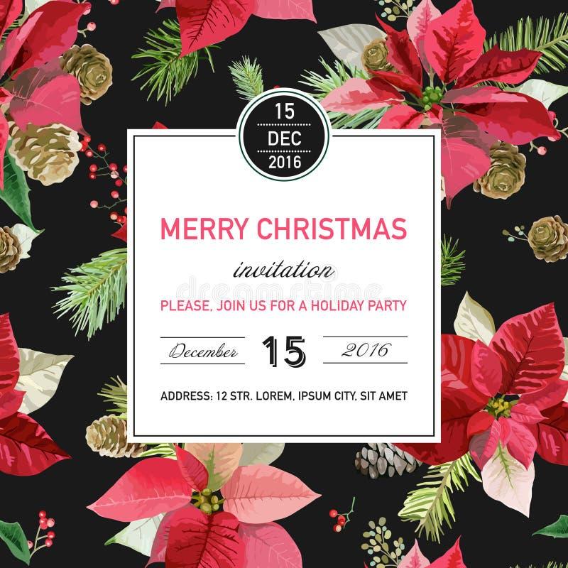 Cartão do convite do Natal da poinsétia do vintage - fundo do inverno ilustração royalty free