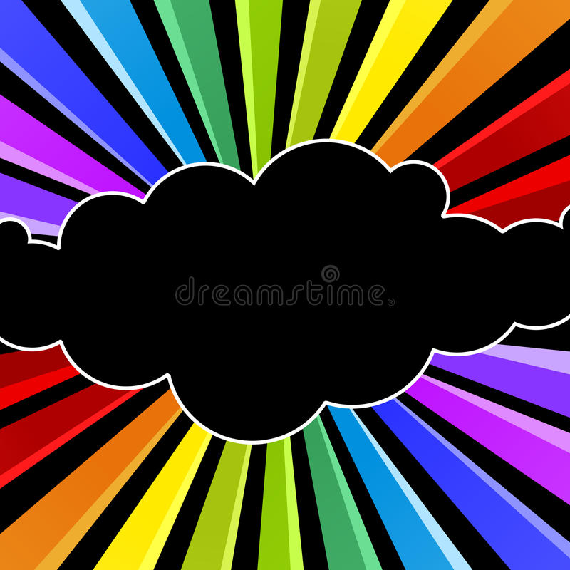 Cartão do convite do partido da noite da nuvem do arco-íris ilustração stock