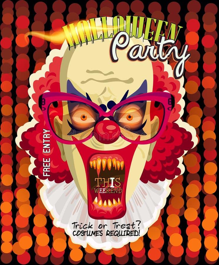 Cartão do convite do vetor do partido de Dia das Bruxas com palhaço assustador ilustração stock