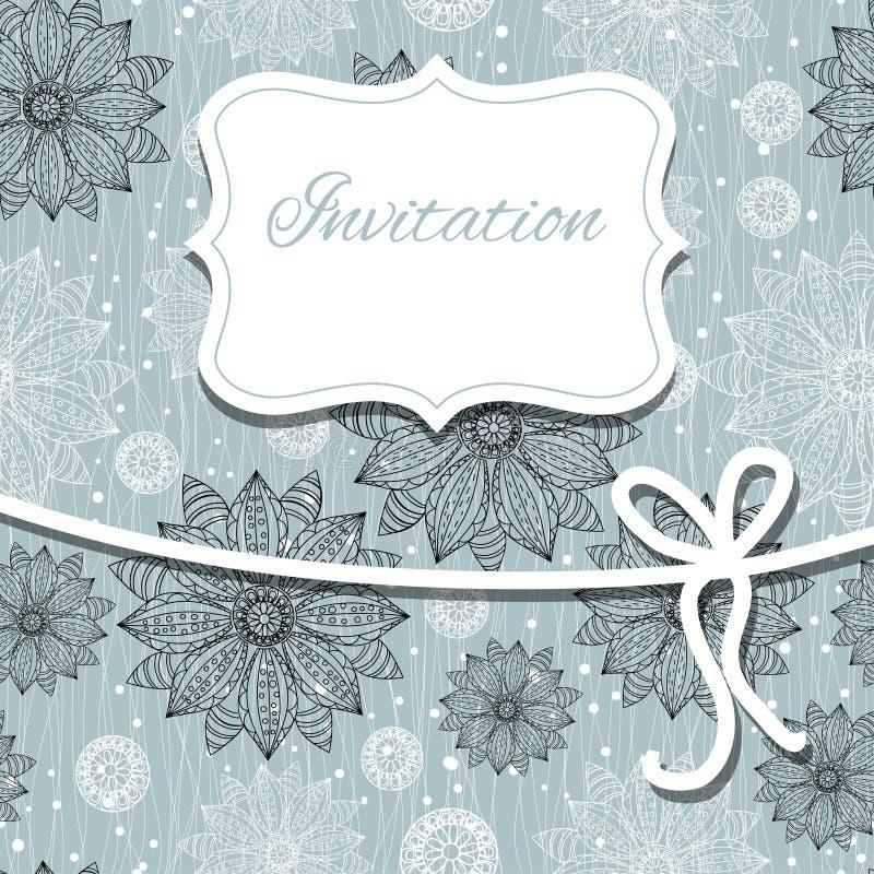Cartão do convite do vintage com ornamento do laço ilustração do vetor