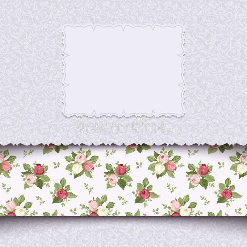 Cartão do convite do vintage com rosas. Illustr do vetor ilustração royalty free