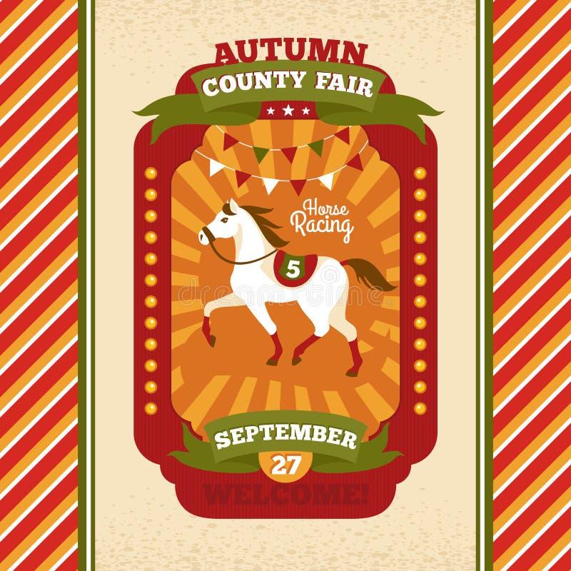 Cartão do convite do vintage da feira de condado ilustração do vetor