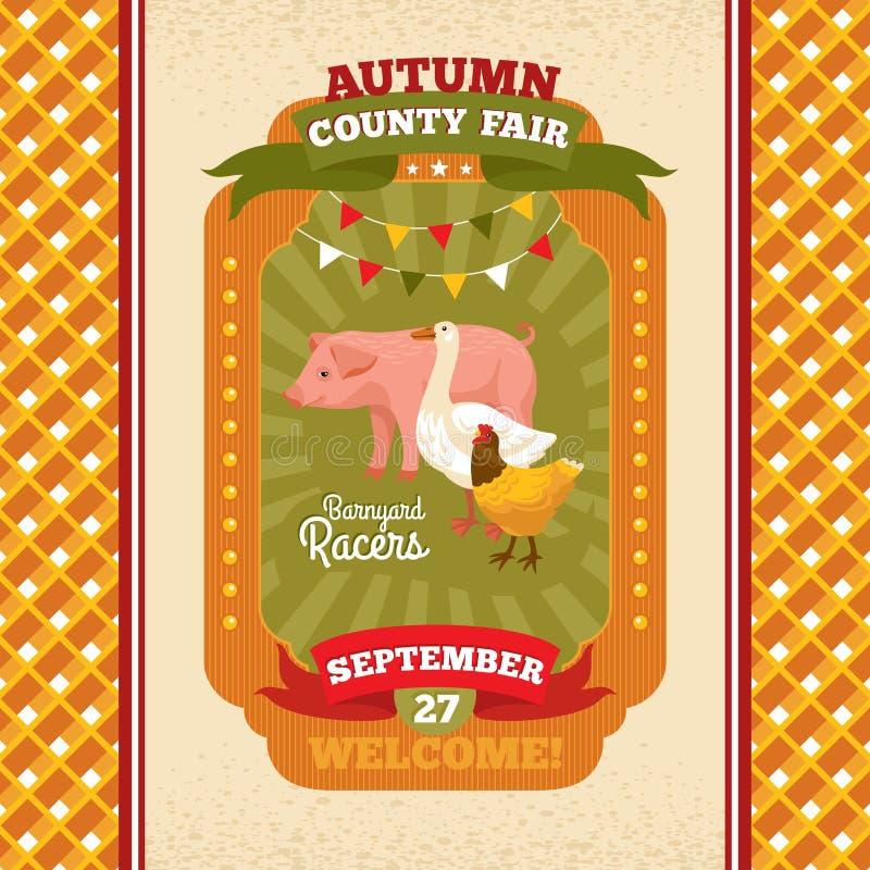 Cartão do convite do vintage da feira de condado ilustração royalty free