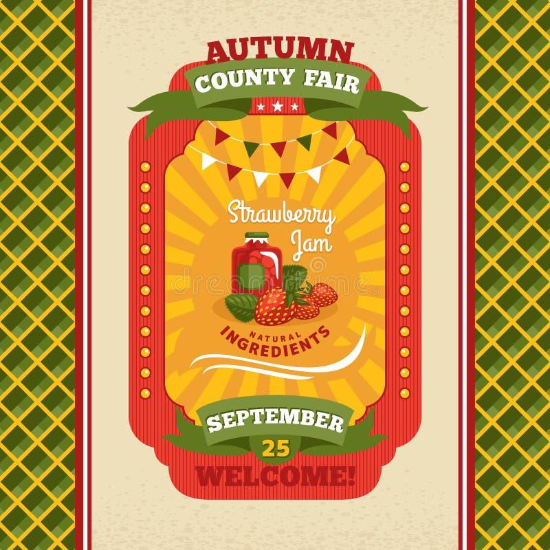 Cartão do convite do vintage da feira de condado ilustração stock