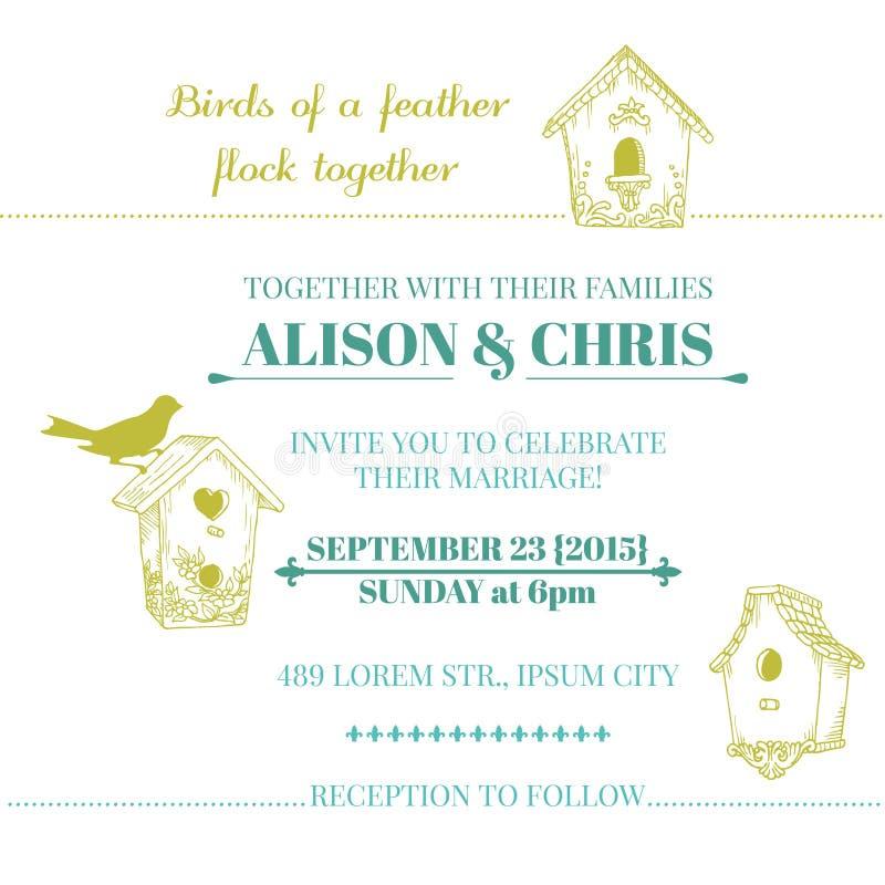 Cartão do convite do vintage do casamento ilustração royalty free