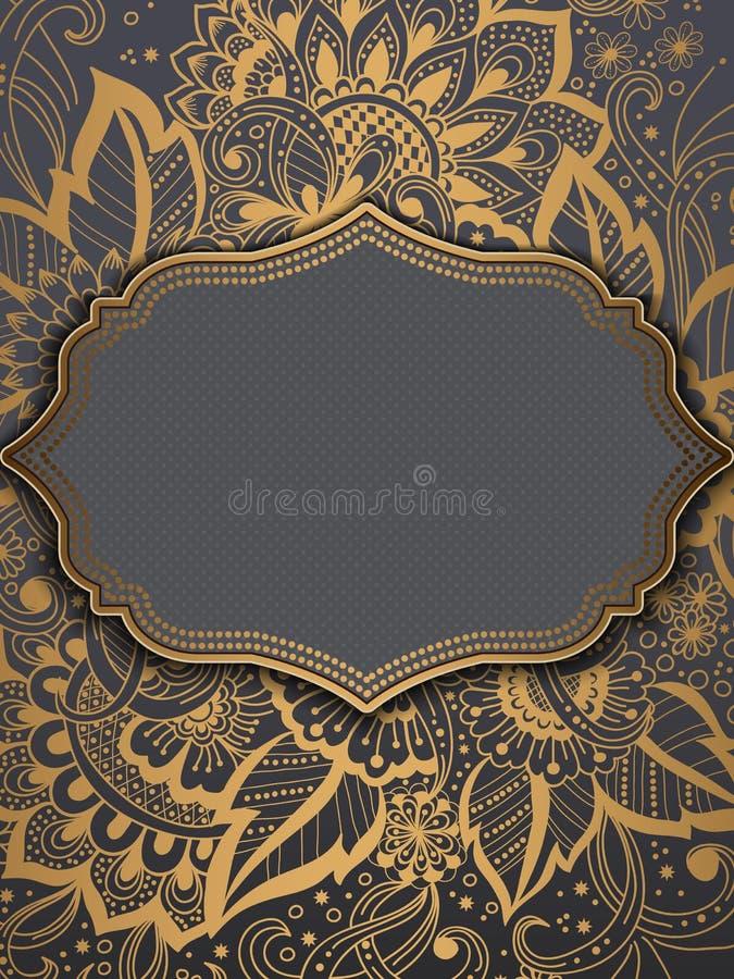 Cartão do convite e do anúncio do casamento com o ornamento no estilo árabe Teste padrão do Arabesque Ornamento étnico oriental ilustração royalty free
