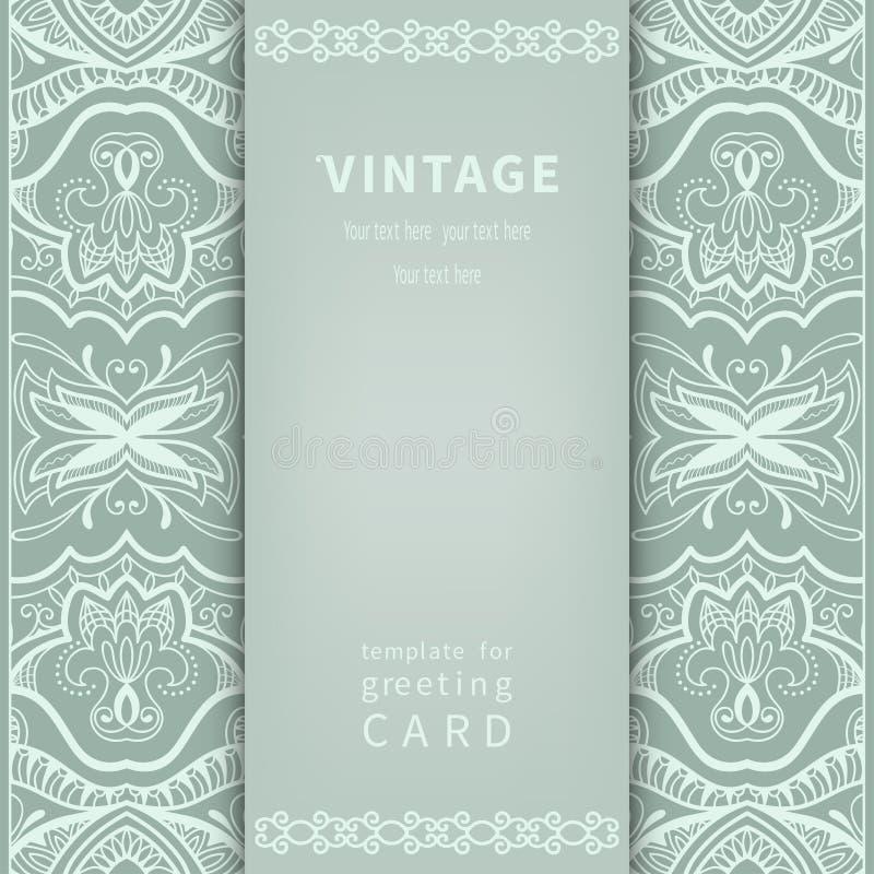 Cartão do convite no estilo do vintage com teste padrão do laço ilustração stock
