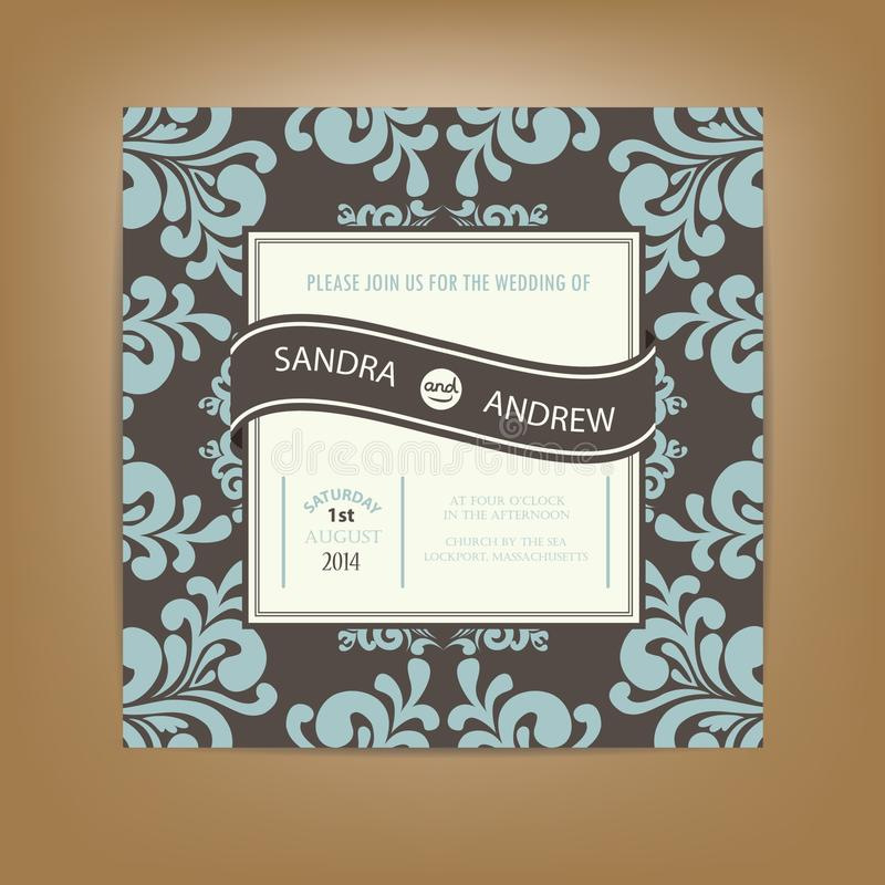Cartão do convite ou do anúncio do casamento ilustração royalty free