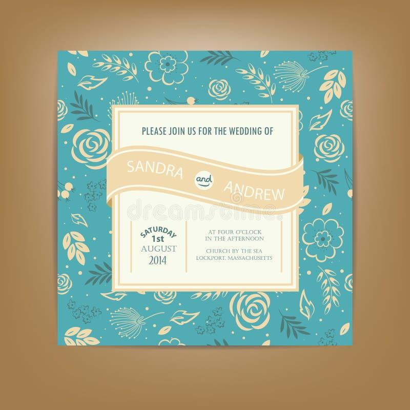 Cartão do convite ou do anúncio do casamento Igualmente aperfeiçoe como o cartão para o aniversário ilustração do vetor