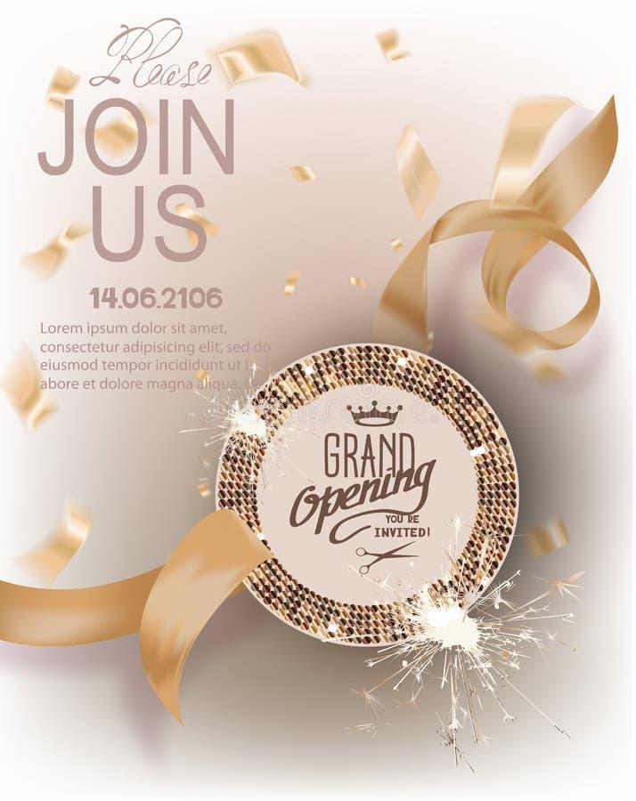 Cartão do convite do ouro da grande inauguração com fitas encaracolado, quadro redondo com teste padrão e confetes ilustração do vetor