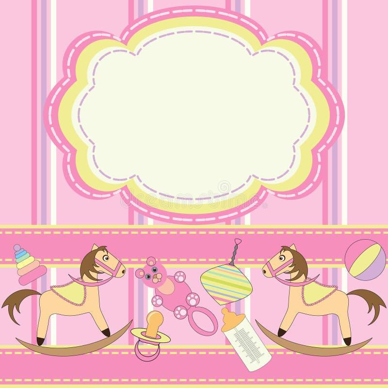 Cartão do convite para bebês com brinquedos ilustração do vetor