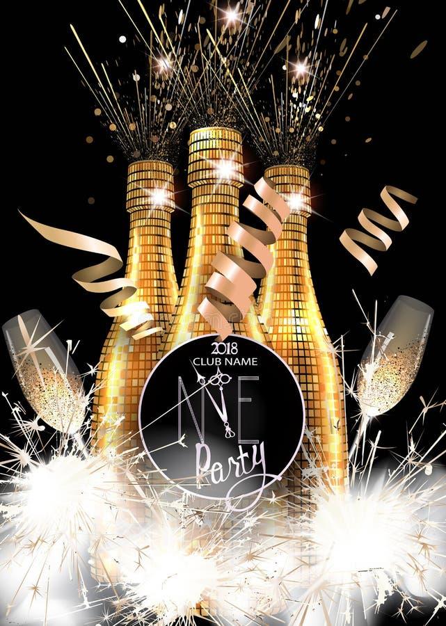 Cartão do convite do partido do ano novo com as garrafas do champanhe, dos vidros e dos chuveirinhos ilustração royalty free