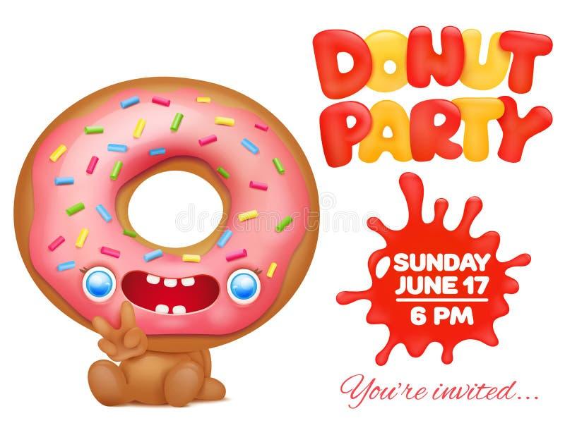 Cartão do convite do partido da filhós com caráter engraçado do emoticon dos desenhos animados ilustração do vetor