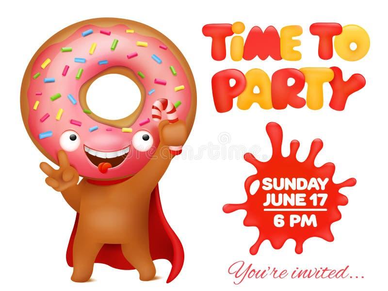 Cartão do convite do partido da filhós com caráter engraçado do emoticon dos desenhos animados ilustração royalty free