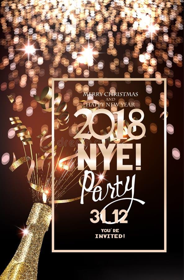 Cartão do convite do partido da véspera de ano novo com luzes defocuced no fundo, na garrafa do champanhe e na serpentina ilustração stock