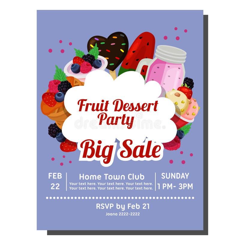 Cartão do convite do partido do fruto com alimento delicioso ilustração stock