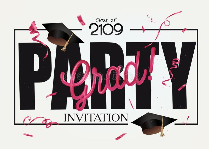 Cartão do convite do partido do graduado com tampões da graduação e confetes vermelhos ilustração stock