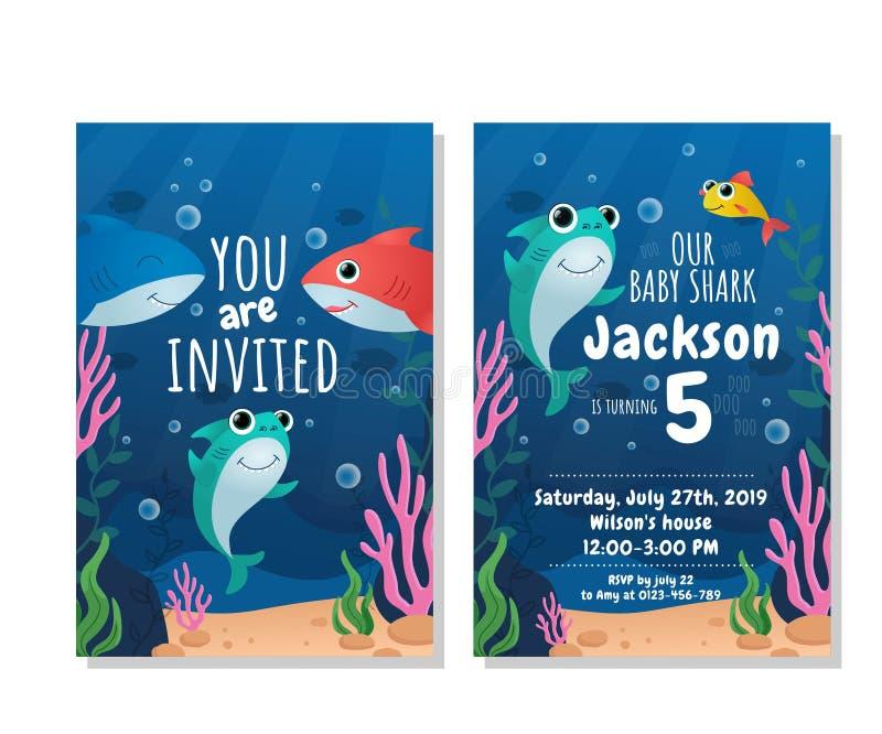 Cartão do convite do partido do tubarão do bebê fotos de stock royalty free