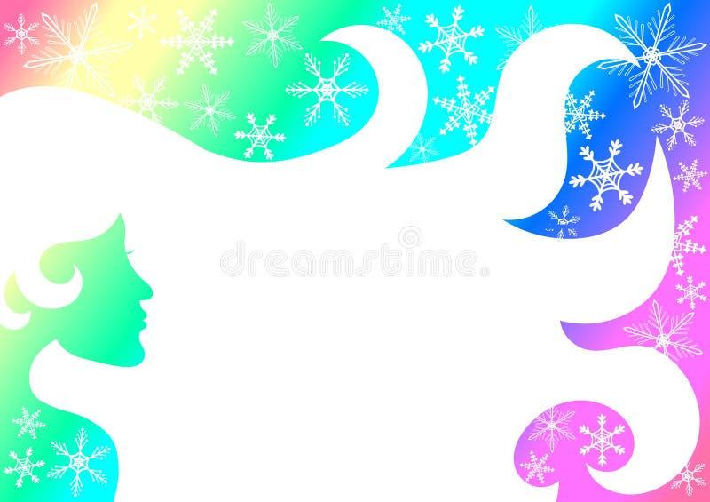 Cartão do convite do quadro da mulher do arco-íris ilustração stock