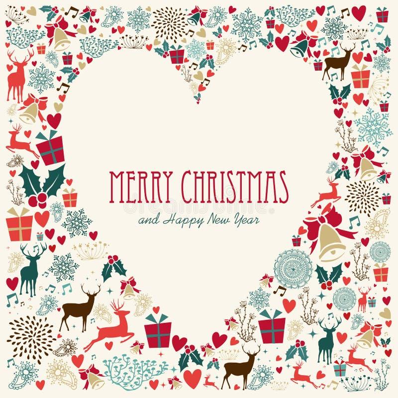 Cartão do coração do amor do Feliz Natal do vintage ilustração royalty free