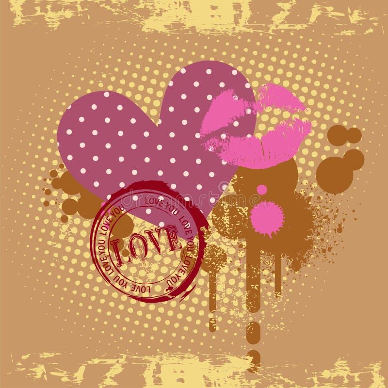 Cartão do coração do amor. Ilustrações do vetor ilustração royalty free