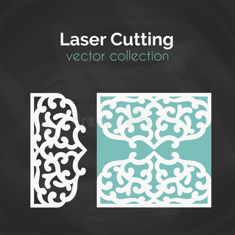 Cartão do corte do laser Molde para cortar Ilustração do entalhe ilustração royalty free