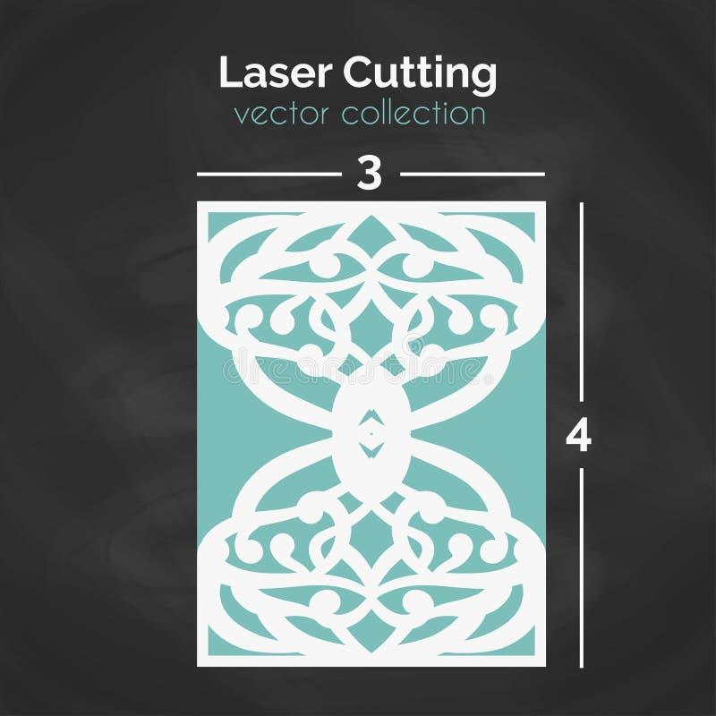 Cartão do corte do laser Molde para cortar Ilustração do entalhe ilustração do vetor