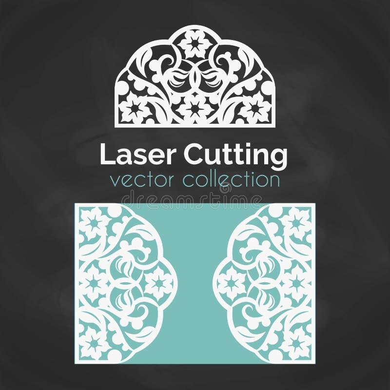 Cartão do corte do laser Molde para o corte do laser Ilustração do entalhe com decoração abstrata Convite cortado do casamento ilustração do vetor