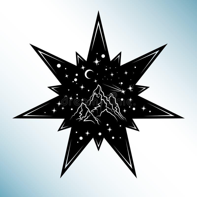 Cartão do corte O laser cortou o vetor da estrela Silhueta do entalhe com sta ilustração do vetor