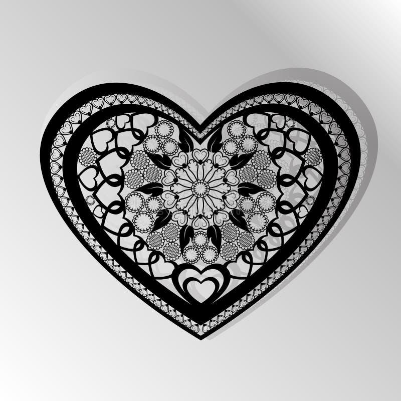 Cartão do corte Painel do vetor do coração do corte do laser Silhueta w do entalhe ilustração royalty free