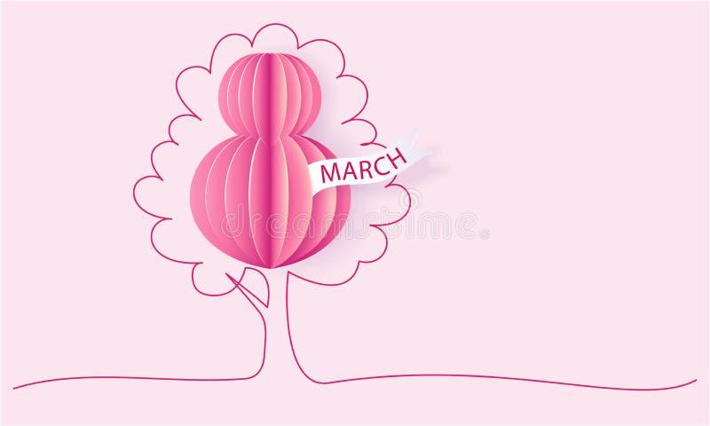 Cartão do corte do papel do dia das mulheres felizes do 8 de março ilustração do vetor