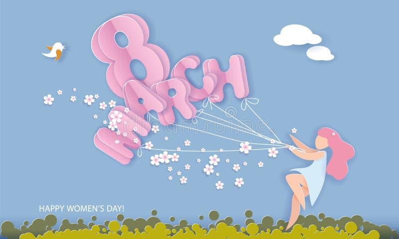 Cartão do corte do papel do dia das mulheres felizes do 8 de março ilustração stock