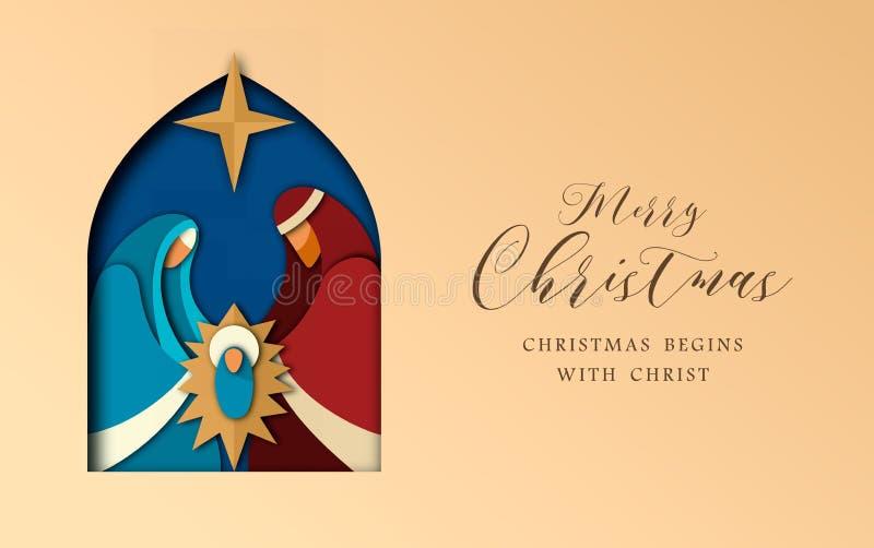Cartão do corte do papel do Natal de jesus e da família santamente ilustração royalty free