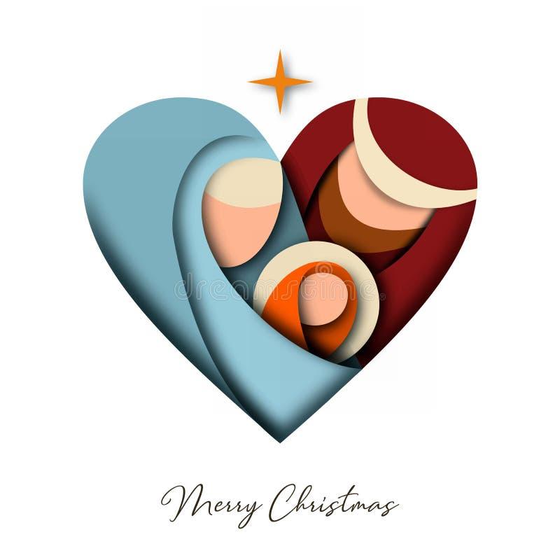 Cartão do corte do papel do Natal de jesus e da família santamente ilustração stock