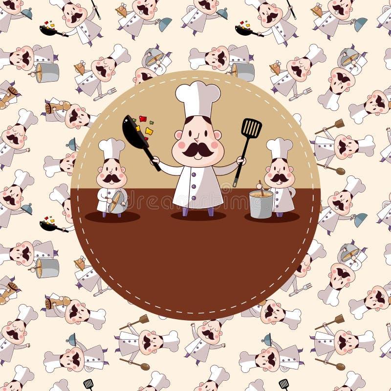 Cartão do cozinheiro chefe dos desenhos animados ilustração stock