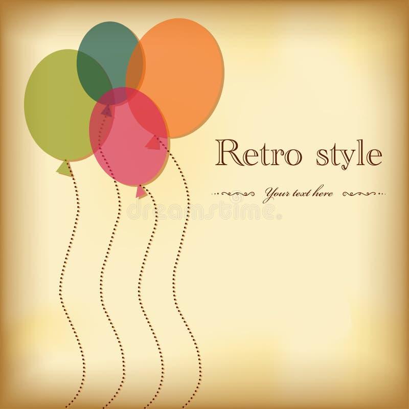Cartão do cumprimento do vintage com balões. ilustração royalty free