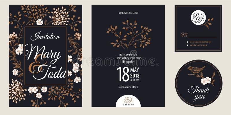 Cartão do cumprimento e dos convites do vintage com flores e grupo do pássaro ilustração royalty free