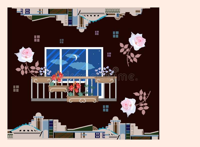 Cartão do cumprimento ou do convite da festa de inauguração Balcão bonito com caixas da planta, rosas de queda, silhueta das cons ilustração do vetor
