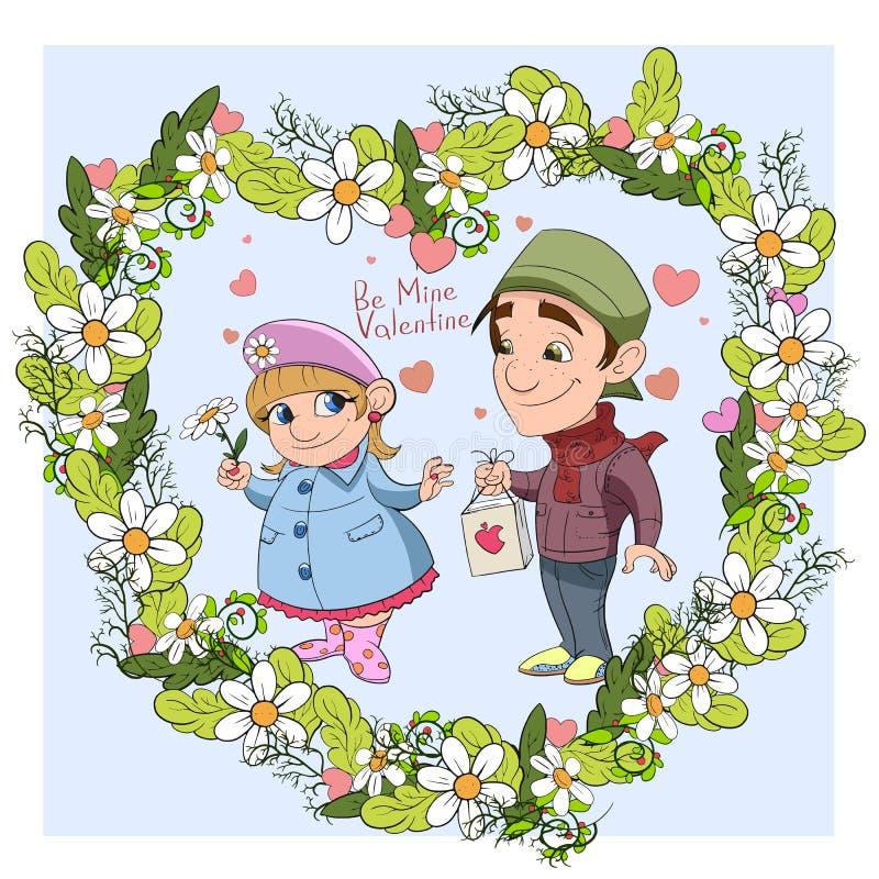 Cartão do cuople do vetor do dia do ` s do Valentim ilustração stock