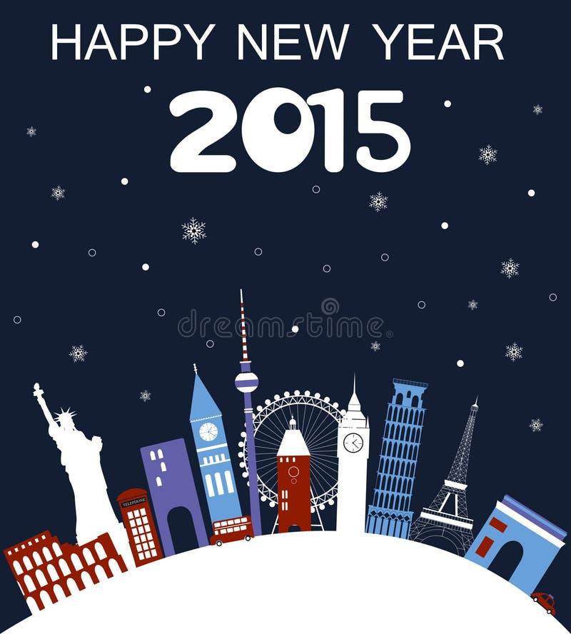 Cartão do curso do ano novo feliz ilustração stock