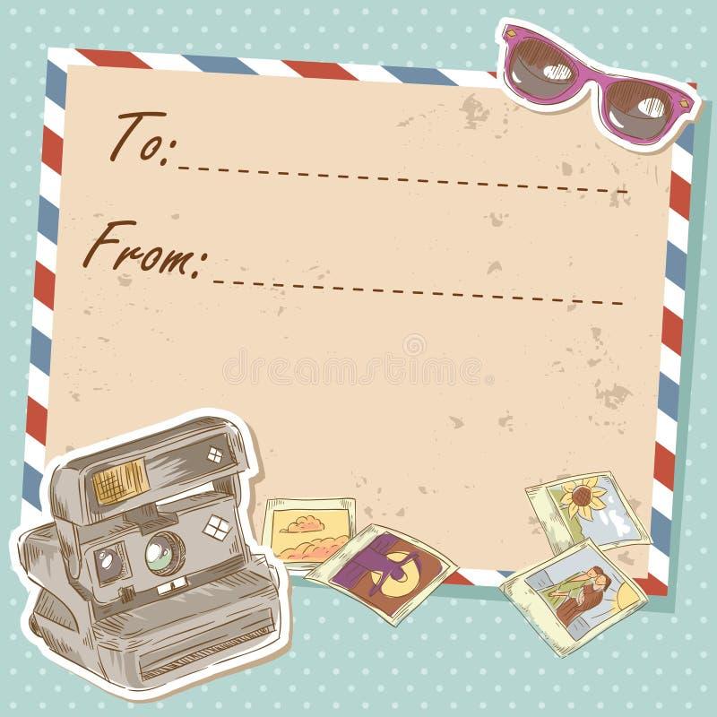 Cartão do curso do correio aéreo com o envelope velho do grunge ilustração stock