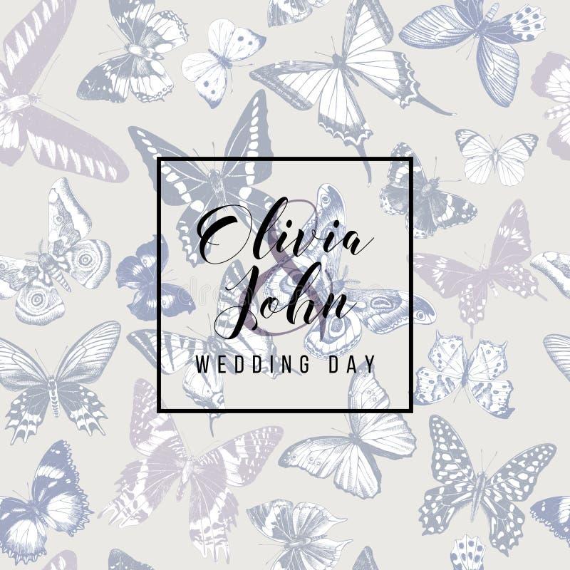 Cartão do dia do casamento ilustração stock