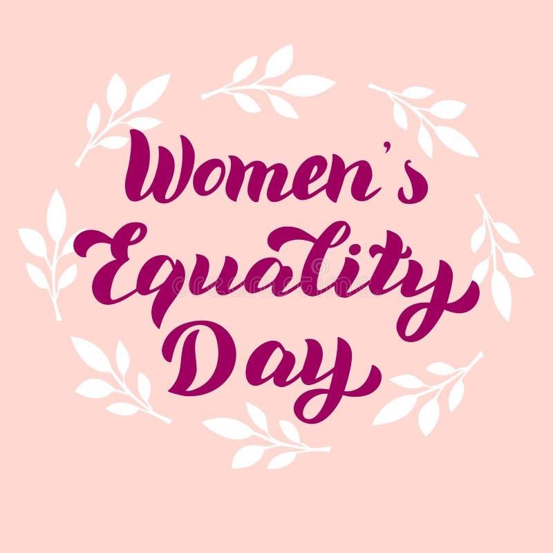 Cartão do dia da igualdade das mulheres Celebração que rotula o projeto da tipografia Bandeira feminista do feriado ilustração royalty free