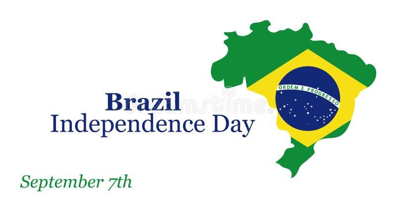 Cartão do Dia da Independência de Brasil 7 de setembro Ilustração do vetor Bandeira do conceito de projeto, cartão ilustração stock