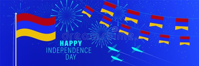 Cartãodo Dia da Independência de setembro 21 Armênia Fundo da celebração com fogos de artifício, bandeiras, mastro de bandeira e ilustração stock