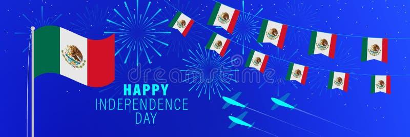 Cartãodo Dia da Independência de setembro 16 México Fundo da celebração com fogos de artifício, bandeiras, mastro de bandeira e  ilustração stock