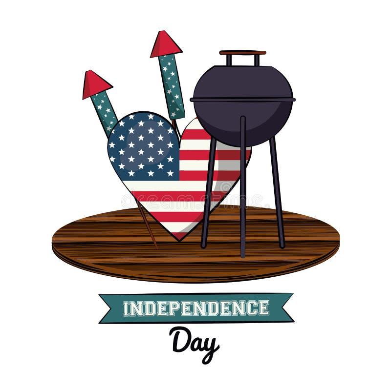 Cartão do Dia da Independência dos EUA com fast food ilustração do vetor