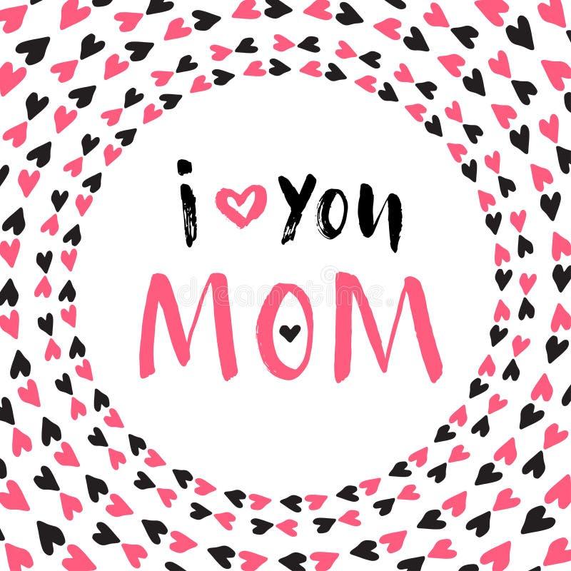 Cartão do dia da mãe Cartaz imprimível do vetor Rotulação da mão ilustração royalty free